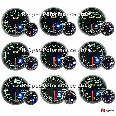 ANY 3 GAUGE OFFER - 52mm Green / White Peak Warn Premium Gauges Boost oil water