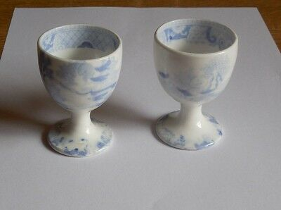 Two Antique Chinese Blue And White Egg Cups