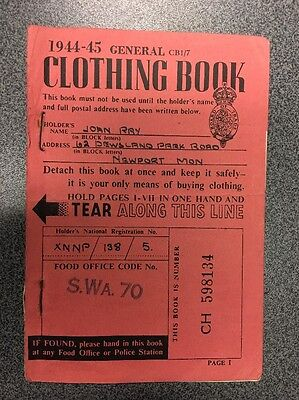 1 x Vintage WW2 Clothing Ration Book 1944-45 with Stamps