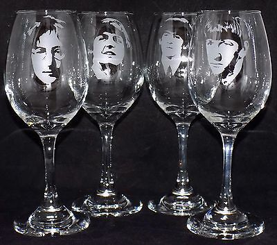 New Etched 'THE BEATLES - LARGE WINE GLASS(ES) - Choose any Band Member