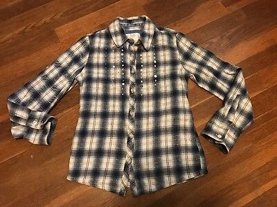 Girls Justice Blue Plaid Button Up Long Sleeve Shirt Size 8