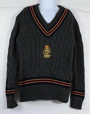 BOYS RALPH LAUREN POLO CABLE KNIT SWEATER Striped V NECK Crest Size 8-10
