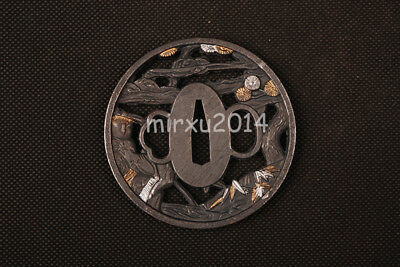 Fishing Man Alloy Tsuba Handguard for Japanese Samurai Wakizashi Tanto Sword 105