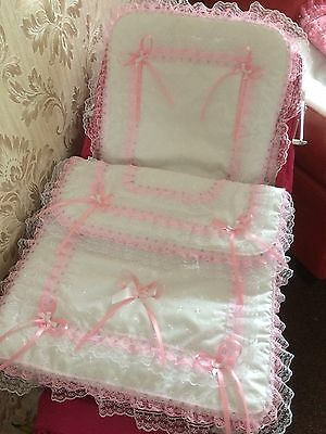Dolls White Broderie And Pink Lace Pram Set / Silver Cross