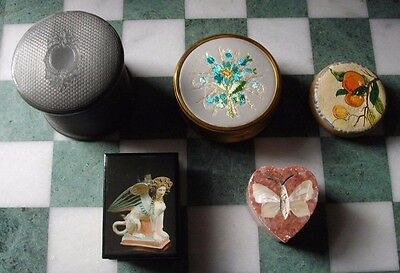 A collection of 5 vintage trinket boxes inc an antique cylindrical example