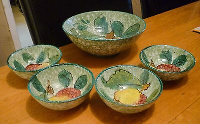Art Pottery Serving Bowl and 4 Small Bowls