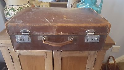 Antique, Leather Vintage English Suitcase Steamer Trunk