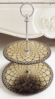 Gold & Black glass 2 tier cake stand Moroccan style cakestand  party / wedding