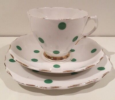 Vintage ROYAL VALE Green Polka Dot bone china trio Teacup Saucer Plate