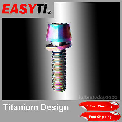 1 Pc Colorful Titanium M6X20 Allen Hex Tapered MTB Bicycle Ti Bolt Screw+Washer