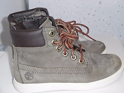 Kids Leather Timberland Trainer Boots Uk 10 Eur 28 Grey Metal Eyelets Laces Zips