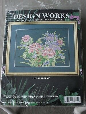 """cross stitch kit. Peony Floral. 12"""" x 16"""". opened pack"""