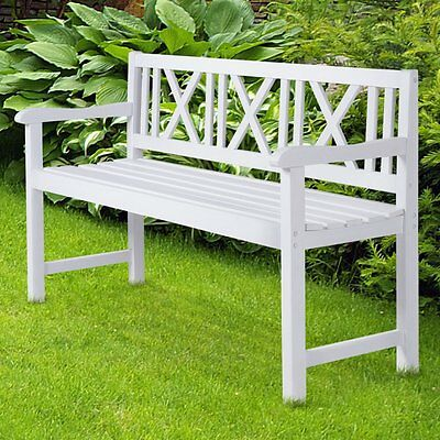 Wooden Garden Bench White 3 Seater Loveseat Patio Furniture Outdoor Seat Classic