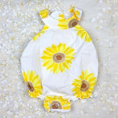 Baby Girls' Sz 3 Mos Romper Sunflowers White Yellow Brown Floral Buttons