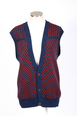 Vtg 80s PERUVIAN CONNECTION Red & Blue Striped Knit Alpaca Wool Sweater Vest M