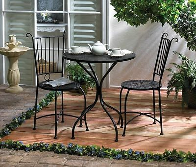 3 Piece Patio Bistro Set Table And 2 Chairs Black Metal New~10015460