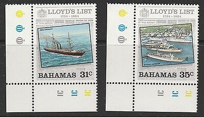 BAHAMAS - 1984 250th ANNIV OF 'LLOYDS LIST' 31c & 35c VALUES