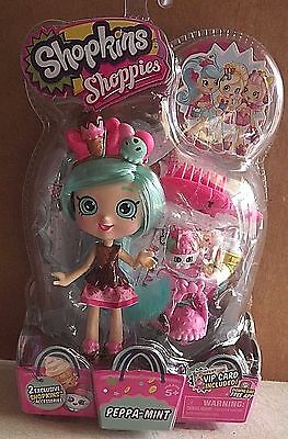 Shopkins Shoppies Doll, Peppa-Mint, W/accessories & 2 Exclusive Shopkins.