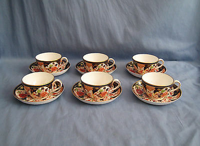Royal Crown Derby ANTIQUE CUP & SAUCER SET x 6 - 122 YEARS OLD - EXC COND