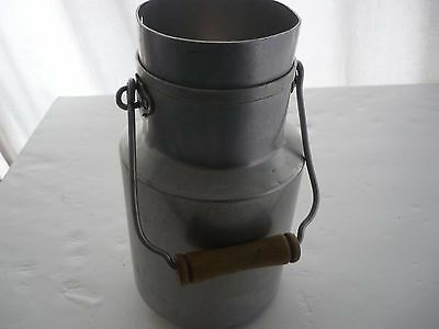 French Vintage Aluminium Pot A Lait Milk Jug With Wood Handle Country Farmhouse
