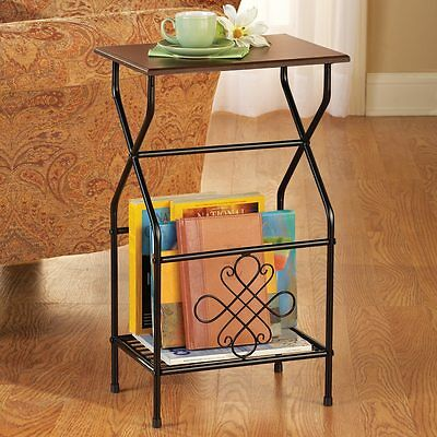 Intricate Metal Scrollwork Side Accent Table with Magazine Holder