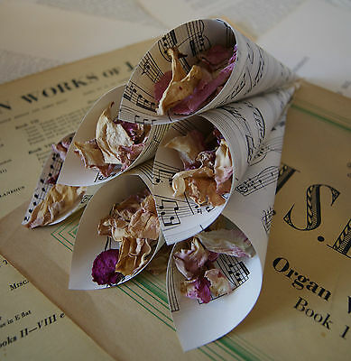 12 x Vintage Sheet Music Wedding Confetti Cones Rustic~Antique~Ivory~Cream