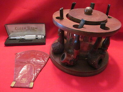 Lot of Used Smoking Pipes,Wood Pipe Holders,Tobacco Pouch,Kleen Rheem