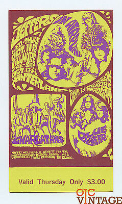 Bill Graham 88 Ticket Jefferson Airplane, Charlatans 1967 Oct 11