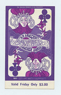 Bill Graham 94 Ticket Donovan Mother Earth 1967 Nov 23
