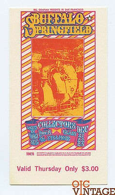 Bill Graham 98 Ticket Buffalo Springfield Collectors Hour Glass 1967 Dec 21