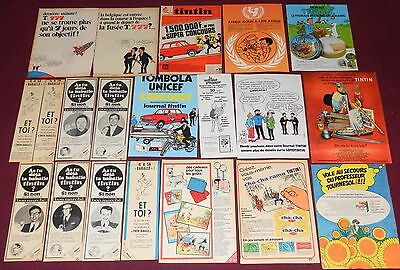 Gros Lot Publicites Tintin Annees 60/70 Fromage Planta Unicef La Baballe Journal