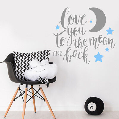 Love You to the Moon and Back Quote Baby Boy Bedroom Wall Sticker Decal