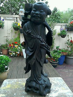 Antique Large Wooden Oriental Carved Figurine With Glass Eyes