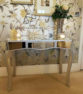 Mirrored Bedroom Furniture Console Table Bedside Tables Drawers French Mirror.