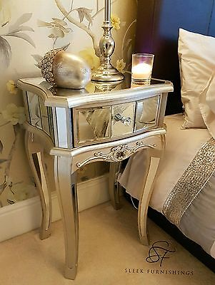 Pair Of Mirrored Bedside Tables Cabinet 1 Drawer Nightstand Side Table Mirror