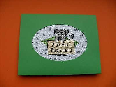 Hand Made Completed Cross Stitch Cards Dog (Happy Birthday)