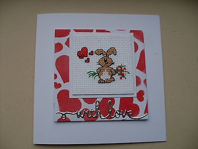 Hand Made Completed Cross Stitch Cards Bunny With Flowers