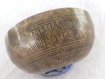 "Mantra Carved 6"" Crown B Chakra Tibetan Bowls - Beaten Hammered Singing Bowls"