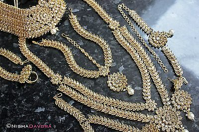 Gold Stone Indian Bridal Wedding Choice of Long Short Necklace Headpiece and mor