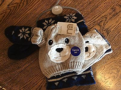 Mothercare hat-gloves-scarf set  Bnwt bear design acrylic  beige navyblue 6-8yrs