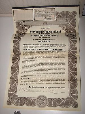 1921 The Pacific International Live Stock Exposition Company $500 Gold Bond
