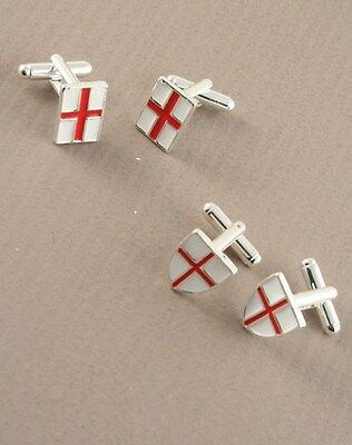 Men Red & White St George Cross Flag Cufflinks Cuff Links England Football Rugby
