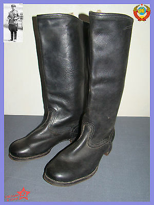 RARE Sz.43 Wide Soviet Calfskin perfect Leather Army FIELD Boots NEW