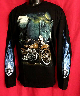 Motor Bike wolf eagle image  Eagle Long sleeve T-shirt black  large