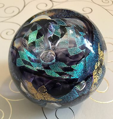 Tim Lazer Purple, Teal Green, Gold Leaf Paperweight Signed Dated 2000