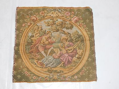 Vintage French Beautiful Romantic Scene Tapestry 49x47cm (T851)