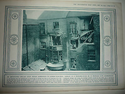 """1914 Ww1 Print. """" Scarborough Bombarded By German War-Ships."""" Rare"""