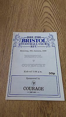 Bristol v Coventry Jan 1988 Rugby Union Programme