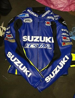New SUZUKI ECSTAR Motorbike Racing Hand Made Leather Jacket With CE Protections