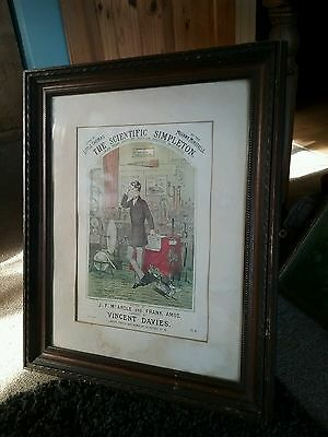 Antique, THE SCIENTIFIC SIMPLETON  in wood frame